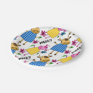 """""""Milk?"""" sign with cute cow character 7 Inch Paper Plate"""