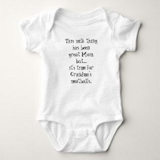 Milk to Grandma's Meatballs Funny Baby Romper Baby Bodysuit