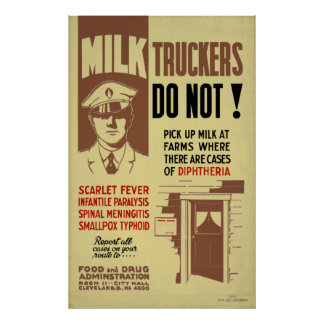Milk Trucker FDA Warning 1940 WPA Vintage Health Poster