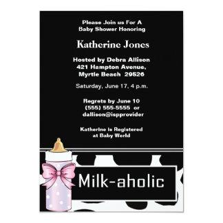 Milkaholic Baby Girl Shower Invitation