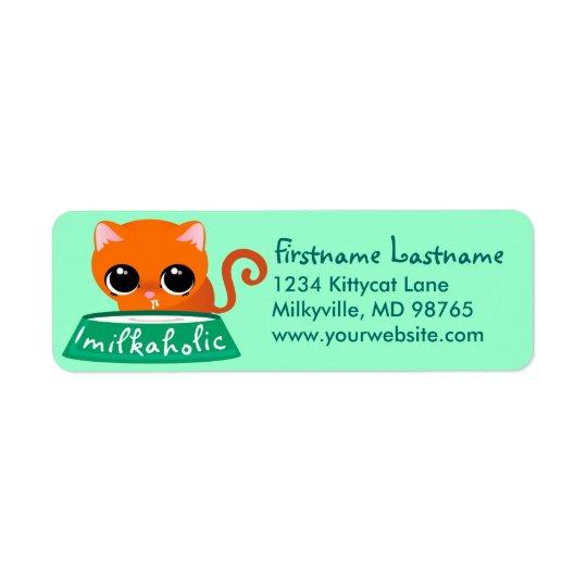 Milkaholic Orange Kitty Return Address Label