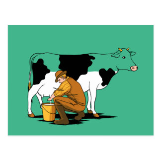 Milking The Cow Humor Postcard