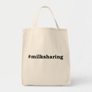 #milksharing black writing tote bag