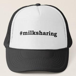 #milksharing black writing trucker hat