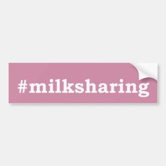 #milksharing white writing bumper sticker