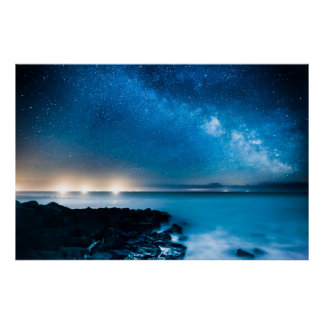 Milky Way Galaxy Over Fishing Boats Poster