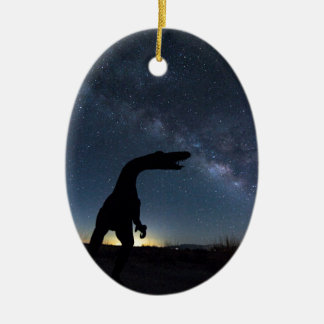 Milky Way over dinosaur Ceramic Ornament