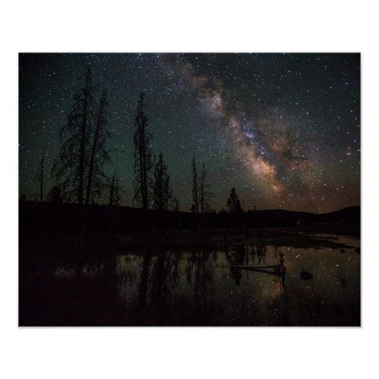 Milky Way Over Firehole Lake Poster
