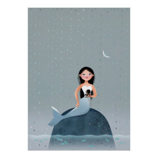 Milla Mermaid sitting in rain kid's illustration Poster