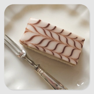 Millefeuille Cream Slice Pastry Postcard Square Sticker