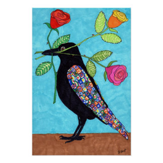 Millefiori Crow with Colorful Roses Folk Art Poster