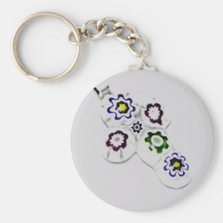 Millefiori glass flower cross basic round button key ring