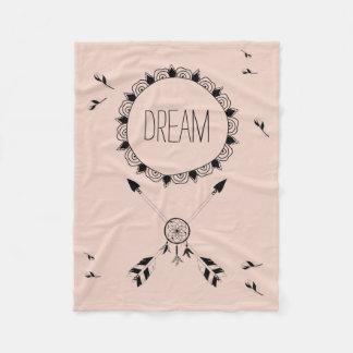 Millennial Pink Boho Fleece Blanket