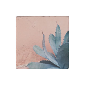 Millennial pink/plant marble succulent magnet