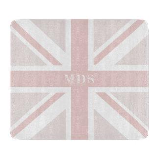 Millennial Pink Union Jack Glass Chopping Board