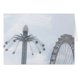 Millennium Wheel and Flying Swings Greeting Card