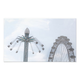 Millennium Wheel and Flying Swings Photo Print