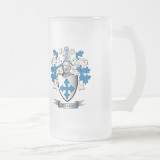 Miller Family Crest Coat of Arms Frosted Glass Beer Mug