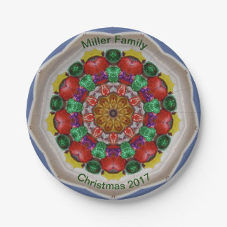 MILLER FAMILY ~ Personalized Christmas Fractal ~ Paper Plate