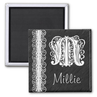 Millie M Monogram White Lace on Black Magnet