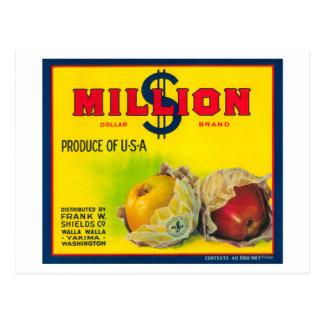 Million Dollar Apple Label - Walla Walla, WA Postcard