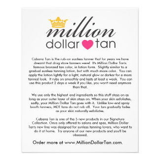 Million Dollar Tan's Cabana Tan Card Vertical