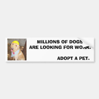 MILLIONS OF DOGS ARE LOOKING FOR WORK. BUMPER STICKER
