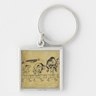 Milo of Croton And The Bull - Gym Motivational Silver-Colored Square Key Ring