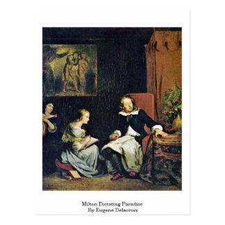 Milton Dictating Paradise By Eugene Delacroix Postcard