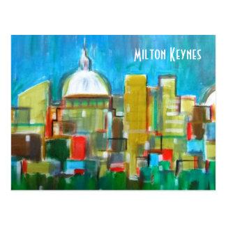 Milton Keynes artistic skyline postcard
