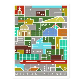 Milton Keynes panorama postcard