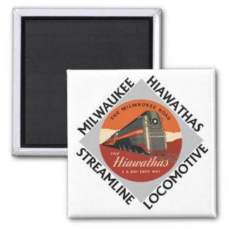 Milwaukee Hiawatha Railroad Square Magnet
