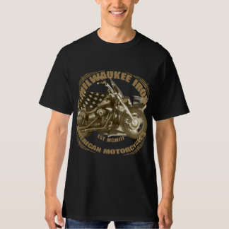 Milwaukee Iron of biker US flag street bob motorcy T-Shirt