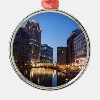 Milwaukee Night Skyline Metal Ornament