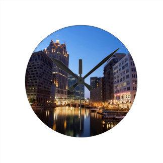 Milwaukee Night Skyline Round Clock