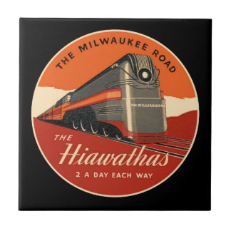 Milwaukee Road Hiawatha Train Small Square Tile