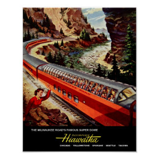 Milwaukee Road, railroad travel poster. Poster