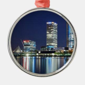 Milwaukee Skyline at Night Metal Ornament