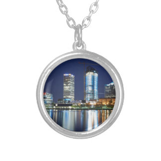 Milwaukee Skyline at Night Silver Plated Necklace