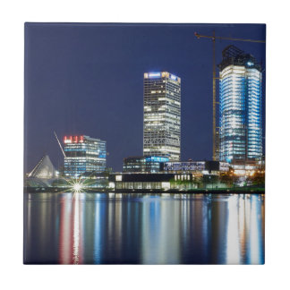 Milwaukee Skyline at Night Small Square Tile