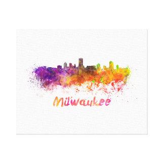 Milwaukee skyline in watercolor canvas print