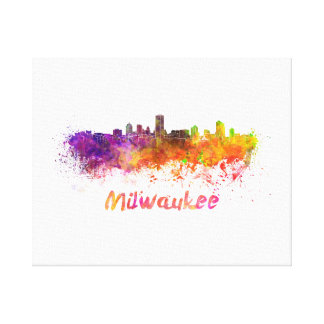 Milwaukee skyline in watercolor canvas print