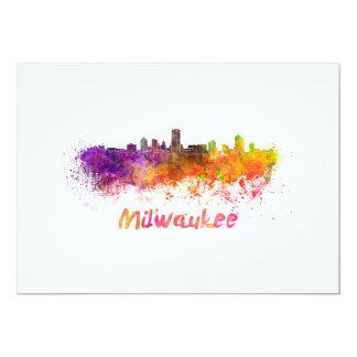 Milwaukee skyline in watercolor card