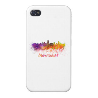 Milwaukee skyline in watercolor iPhone 4/4S case