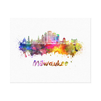 Milwaukee V2 skyline in watercolor Canvas Print