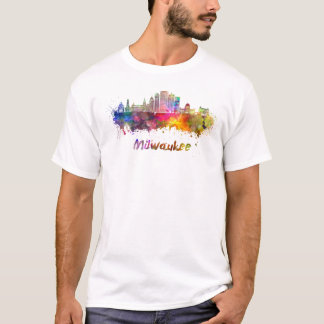 Milwaukee V2 skyline in watercolor T-Shirt