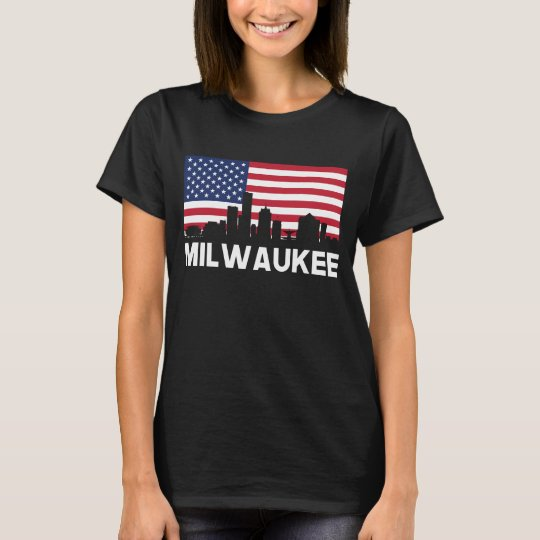 Milwaukee WI American Flag Skyline T-Shirt