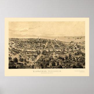 Milwaukee, WI Panoramic Map - 1854 Poster
