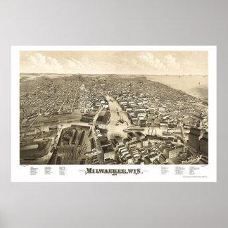 Milwaukee, WI Panoramic Map - 1879 Poster