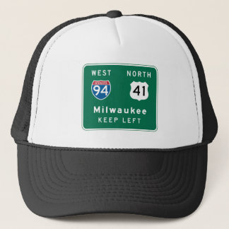 Milwaukee, WI Road Sign Trucker Hat